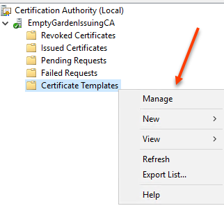 Sql server fun with certificates the emptygarden once the certificate authority is open right click certificate templates and select manage yelopaper