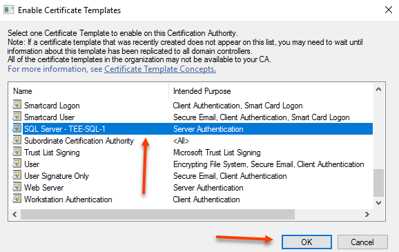Sql server fun with certificates the emptygarden find the template you just created and select ok yadclub Choice Image